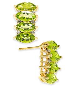 Peridot (4-3/8 ct. t.w.) & Diamond (1/10 ct. t.w.) Drop Earrings in 14k Gold