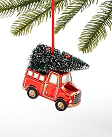 Christmas Cheer Glass Car with Trimmed Tree Ornament, Created for Macy's