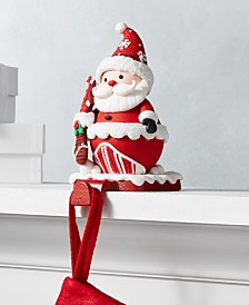 Holiday Lane Christmas Cheer Red and White Santa Stocking Holder, Created for Macy's