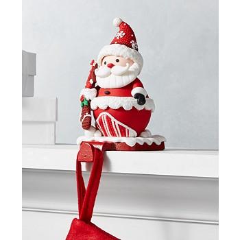 Holiday Lane Christmas Cheer Red and White Santa Stocking Holder