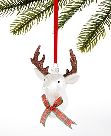 Christmas Cheer Glass Stag Head with Plaid Bow Tie Ornament, Created for Macy's