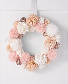 Dreamland Pink Pom Pom Fabric Wreath, Created for Macy's