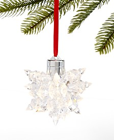 Holiday Lane Shine Bright LED Crystal Snowflake Ornament, Created for Macy's