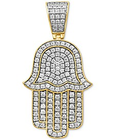 Diamond Hamsa Hand Pendant (1-5/8 ct t.w.) in Sterling Silver & 14k Gold-Plate