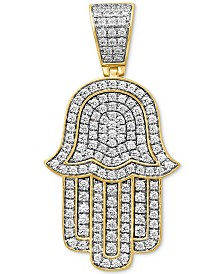 Diamond Hamsa Hand Pendant (1-5/8 ct t.w.) in Sterling Silver & 14k Gold-Plate