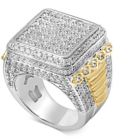 Men's Diamond Cluster Two-Tone Ring (5 ct. t.w.) in 10k Gold & White Gold