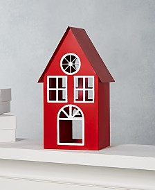 """Martha Stewart Collection Farmhouse Holidays 11"""" Red Iron House with LED Candle, Created for Macy's"""