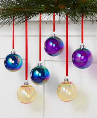 Midnight Blue Set of 6 Multicolored Shatterproof Ornaments, Created for Macys