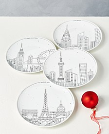 Holiday Cityscape Salad Plates, Set of 4, Created for Macy's