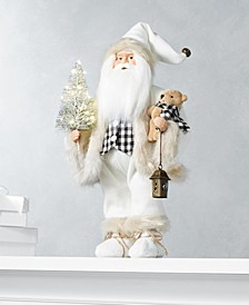 The Holiday Collection Plaid LED Santa with Christmas Tree, Created for Macy's
