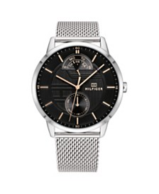 Tommy Hilfiger Mens Stainless Steel Mesh Bracelet Watch 44mm, Created for Macys