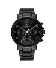 Tommy Hilfiger Mens Black Stainless Steel Bracelet Watch 44mm , Created for Macys