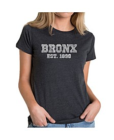 Women's Premium Word Art T-Shirt - Popular Bronx Neighborhoods