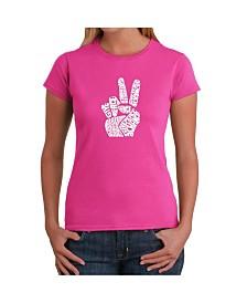 Women's Word Art T-Shirt - Peace Fingers