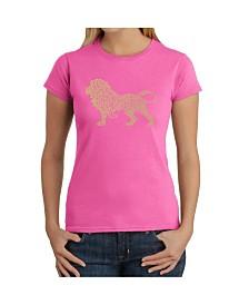 Women's Word Art T-Shirt - Lion
