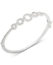 Lauren Ralph Lauren Silver-Tone Crystal Link Bangle Bracelet
