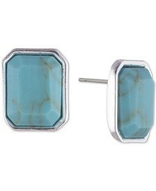 Lauren Ralph Lauren Silver-Tone Stone Stud Earrings
