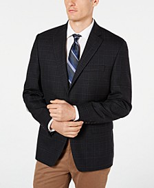 Men's Classic-Fit UltraFlex Stretch Charcoal Plaid Sport Coat