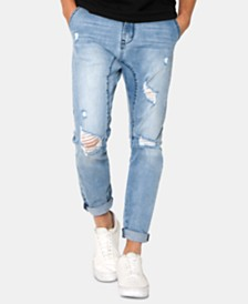 Zeegeewhy Men's Slim-Fit Droppit Ripped Jeans