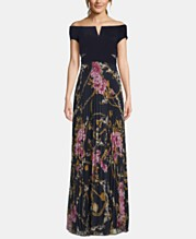84337781aa2 XSCAPE Off-The-Shoulder Floral-Skirt Gown