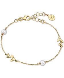 Majorica Gold-Plated Sterling Silver Imitation Pearl and Vine Chain Bracelet