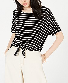 Juniors' Tie-Front Dolman-Sleeved Top