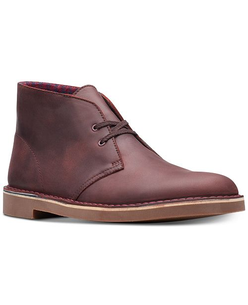 Clarks Men's Bushacre 2 Aubergine Leather Chukka Boots