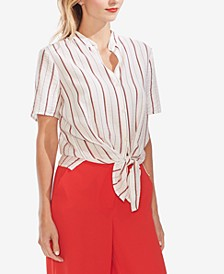 Striped Tie-Hem Blouse