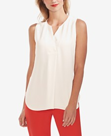 Vince Camuto Split-Neck Front-Pleat Top