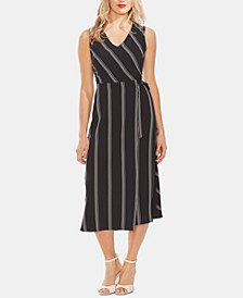 Striped V-Neck Sleeveless Dress
