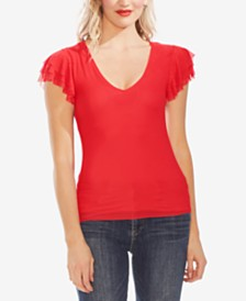 Vince Camuto Tiered Ruffle-Sleeve Mesh Top