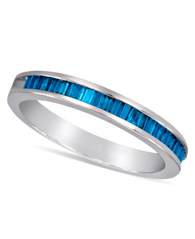 Sterling Silver Ring, Blue Diamond Baguette Ring (1/2 ct. t.w.)