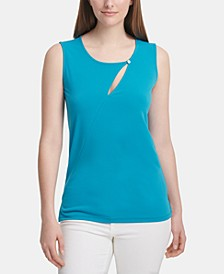 Sleeveless Cutout Crewneck Top