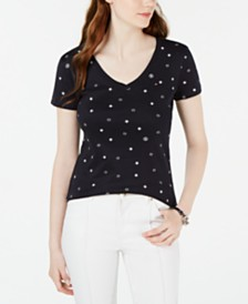 Tommy Hilfiger Cotton Star-Print V-Neck Top, Created for Macy's
