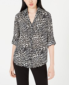 BCX Juniors' Printed Button-Up Shirt