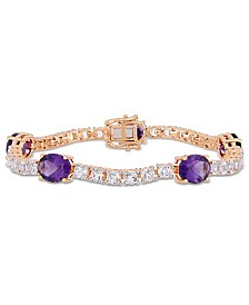 Amethyst (12 ct.t.w.) and White Topaz (9 ct. t.w.) Station Link Bracelet in 18k Rose Gold over Sterling Silver