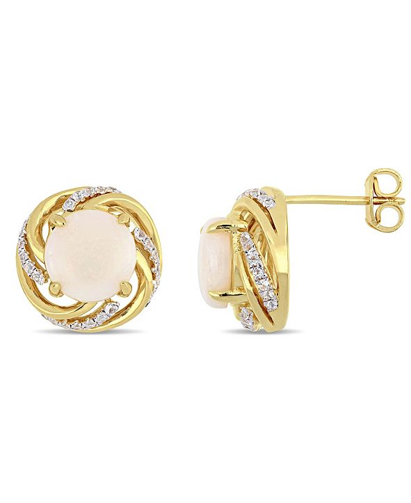 Macy's Opal (2-1/2 ct. t.w.) and White Topaz (1/4 ct. t.w.) Swirl Halo Stud Earrings in 18k Gold over Sterling Silver
