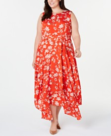 Calvin Klein Plus Size Sleeveless Printed Handkerchief-Hem Dress