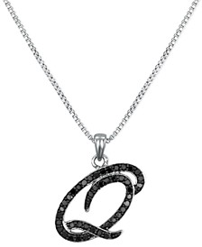 "Sterling Silver Necklace, Black Diamond ""Q"" Initial Pendant (1/4 ct. t.w.)"