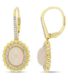 Opal (4 ct. t.w.) and Diamond (1/4 ct. t.w.) Halo Earrings in 14k Yellow Gold