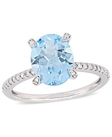 Blue Topaz (3-3/4 ct.t.w.) and Diamond (1/10 ct.t.w.) Ring in 10k White Gold