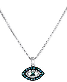 Sterling Silver Necklace, Blue Diamond and White Diamond Accent Evil Eye Pendant (1/6 ct. t.w.)