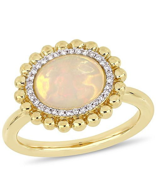 Macy's Opal (2 ct.t.w.) and Diamond (1/10 ct.t.w.) Halo Ring in 14k Yellow Gold