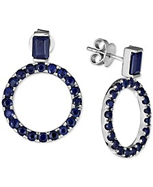 Sapphire Drop Hoop Earrings (6-1/5 ct. t.w.) in Sterling Silver (Also available in Certified Ruby)