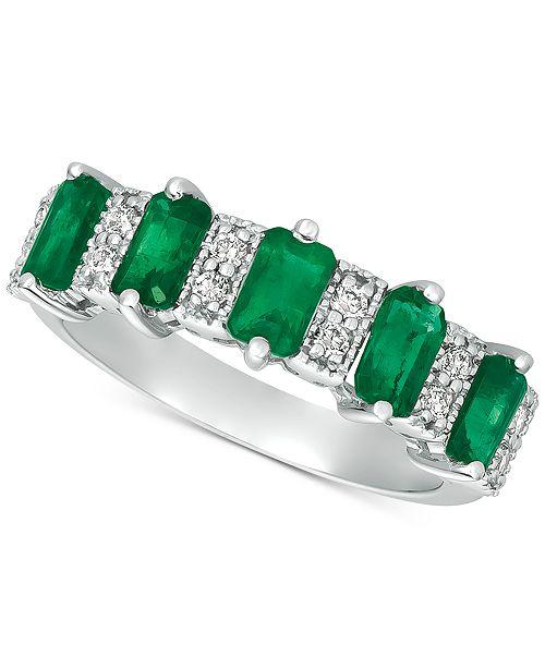 Macy's Emerald (2-3/8 ct. t.w.) & Diamond (1/6 ct. t.w.) Ring in 14k White Gold