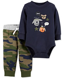 Baby Boys 2-Pc. Graphic Bodysuit & Camo Jogger Pants Cotton Set