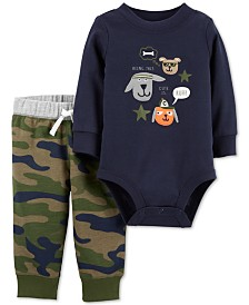 Carter's Baby Boys 2-Pc. Graphic Bodysuit & Camo Jogger Pants Cotton Set