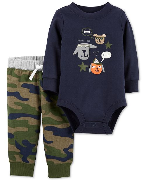 Carter's Baby Boys 2-Pc. Graphic Bodysuit & Camo Jogger Pants Cotton Set