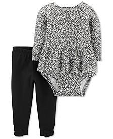 Baby Girls 2-Pc. Leopard-Print Bodysuit & Bow Leggings Cotton Set
