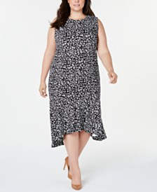 Calvin Klein Plus Size Ruffle-Hem Animal Printed Midi Dress